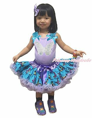 Lavender Top Bling Sparkle Butterfly Blue Pettiskirt Girls Cloth Outfit Set 1-8Y