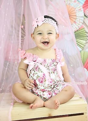 Pink Romantic Floral One Piece Night Gown Dress Romper Baby Girl Jumpsuit NB-36M