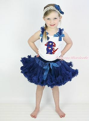 4th July Star Minnie Dog Puppy White Top Navy Blue Skirt Girls Cloth Outfit 1-8Y