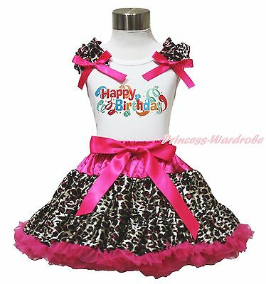 Happy Birthday Balloon White Top Hot Pink Leopard Skirt Girls Cloth Outfit 1-8Y