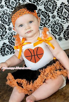 Basketball Heart Halloween White Top Black Orange Girls Baby Skirt Outfit 3-12M