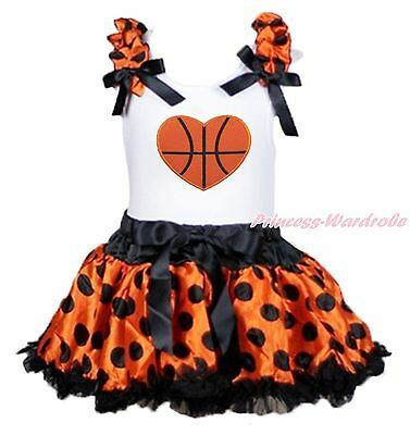 Halloween Basketball Heart White Top Orange Black Dot Girls Baby Skirt Set 3-12M