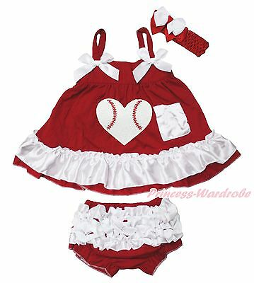 Xmas Baseball Heart Red White Baby Girls Elegant Swing Top Bloomer Outfit NB-2Y