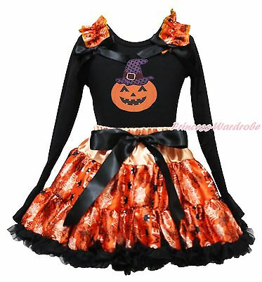 Pumpkin Purple Witch Hat Halloween Black Top Spider Web Skirt Girls Outfit 1-8Y