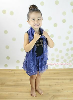 I m so sparkly Black Sleeveless Navy Blue Lace Girls Party Dress Scarf Set 1-8Y