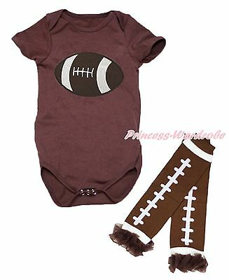 Brown Rugby Ball Sports One Piece Baby Girl Bodysuit Jumpsuit Leg Warmer NB-18M