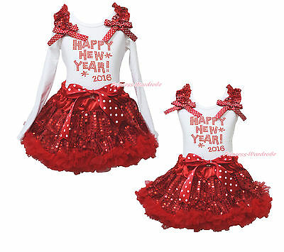 Happy New Year 2016 White Shirt Top Bling Red Sequins Girl Skirt Outfit Set 1-8Y