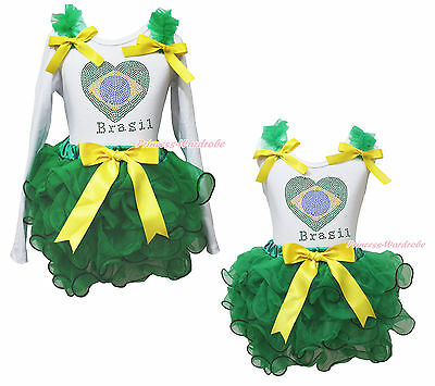 White Top World Cup Brazil Heart Kelly Green Girls Petal Pettiskirt Outfit NB-8Y