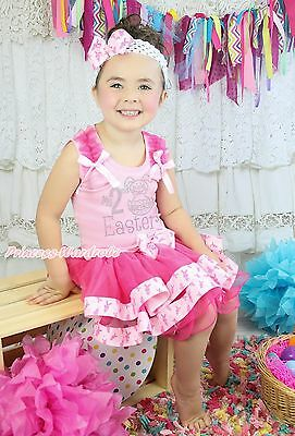 My 2ND Easter Egg Bunny Pink Top Rabbit Satin Trim Skirt Girls Outfit Set NB-8Y