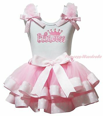 Princess Easter White Cotton Top Pink Dot Satin Trim Skirt Girl Outfit Set NB-8Y