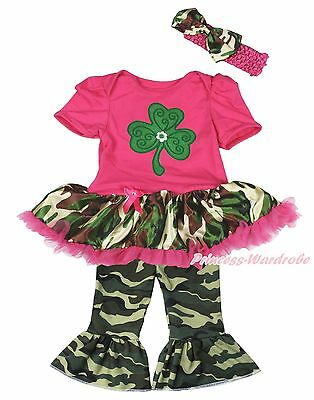 St Patrick Clover Hot Pink Bodysuit Camouflage Girls Baby Dress Trousers NB-18M