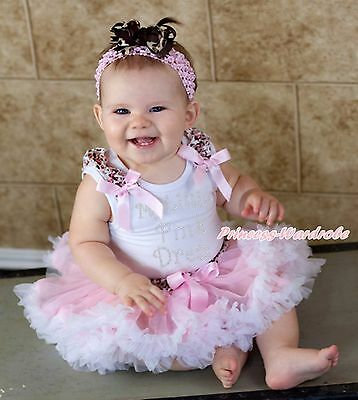 My Little Pink Dress White Top Leopard Waist Pink Girls Baby Skirt Outfit 3-12M