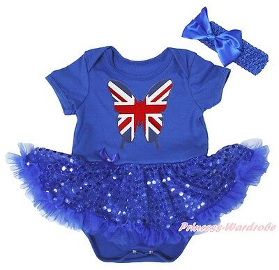 British Union Jack Butterfly Blue Bodysuit Bling Sequins Girls Baby Dress NB-18M