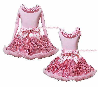 My Little Pink Dress Cotton Lacing Top Bling Sequins Girls Skirt Outfit Set 1-8Y