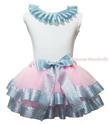 Plain Lacing White Cotton Top Pink Bling Blue Satin Trim Skirt Girl Outfit NB-8Y