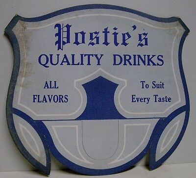 1940's Postie's Quality Drinks Cardboard Bottle Topper Sign - McAdoo, PA