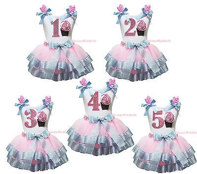 1ST 2ND Birthday Cupcake White Top Pink Bling Blue Satin Trim Girls Skirt NB-8Y