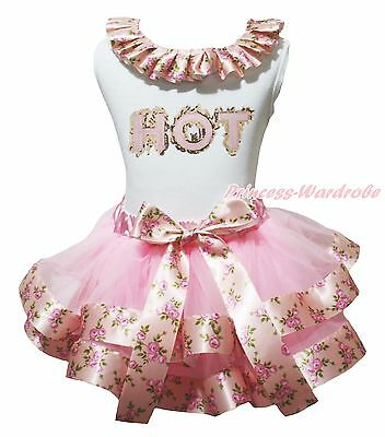 HOT White Cotton Top Pink Floral Rose Peony Satin Trim Skirt Girls Outfit NB-8Y