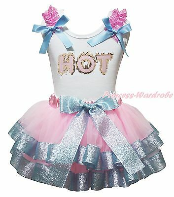 HOT White Cotton Top Lacing Pink Bling Blue Satin Trim Skirt Girls Outfit NB-8Y