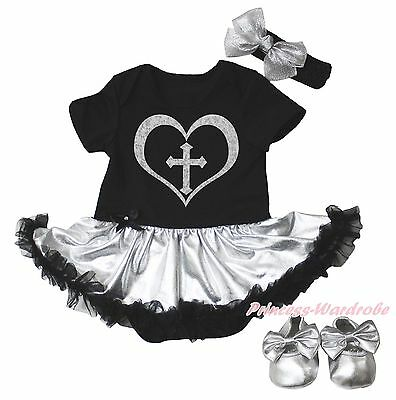 Christian Cross Black Bodysuit Silver Gray Girls Baby Dress Shoes Outfit NB-18M