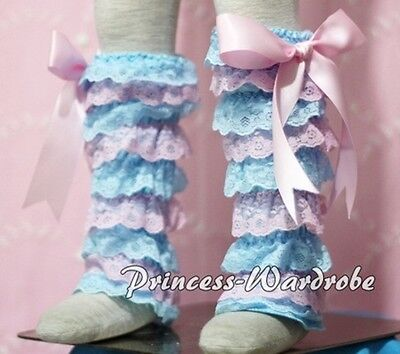 Baby Girl Light Blue Pink Lace Leg Warmer Stocking Accessory For Pettiskirt 2-6Y