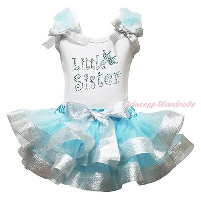 Little Sister White Cotton Top Blue Silver Satin Trim Skirt Girls Outfit NB-8Y