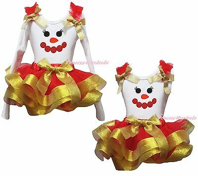 Xmas Minnie Snowman White Cotton Top Gold Red Satin Trim Skirt Girl Outfit NB-8Y