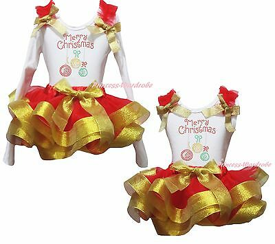 Merry Christmas Lighting White Top Gold Red Satin Trim Skirt Girls Outfit NB-8Y