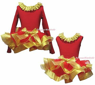Plain Xmas New Year Cotton Top Gold Red Satin Trim Skirt Girls Outfit Set NB-8Y