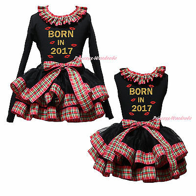 Born In 2017 Lips Top Red Green Check Black Satin Trim Skirt Girls Outfit NB-8Y