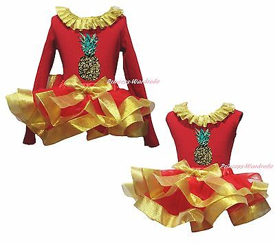 Pineapple Fruit Cotton Top Gold Red Satin Trim Skirt Girls Clothing Outfit NB-8Y