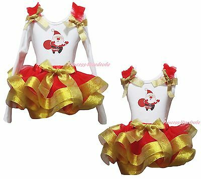 Xmas Santa Claus White Cotton Top Gold Red Satin Trim Skirt Girl Outfit NB-8Y