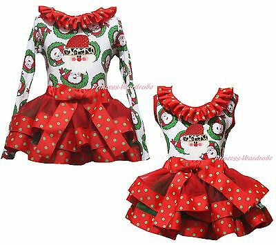 Xmas Leopard Santa Claus Top Red Green Dot Satin Trim Skirt Girls Outfit NB-8Y
