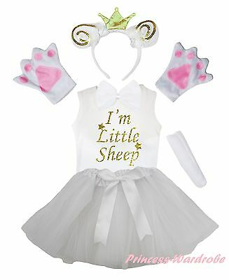 Crown Gold Sheep Goat Party Kid 6P Headband Paw Tail Bow Shirt Skirt Costume Set