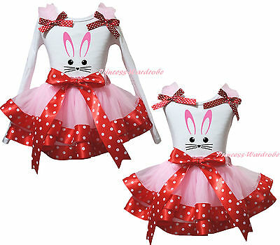 Easter Bunny Rabbit Face White Top Pink Minnie Satin Trim Girls Skirt Set NB-8Y