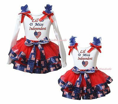 4th July Miss Independent Heart White Top USA Flag Satin Trim Skirt Girls NB-8Y