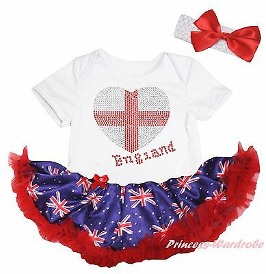 Queen Day England Heart White Bodysuit Blue Union Jack UK Flag Baby Dress NB-18M