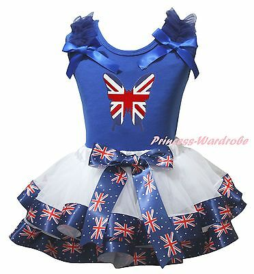 Queen Day Blue Top White UK Flag Butterfly Satin Trim Skirt Girls Outfit NB-8Y
