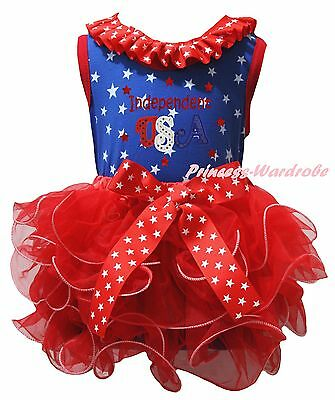 Independent USA 4th July Blue Star Cotton Top Red Petal Skirt Girls Outfit NB-8Y