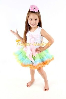 Pale Rainbows Pettiskirt with White Pettitop Top in Light Pink Bow Set 1-8Year