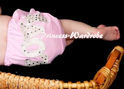 Pink Pantie Bloomer with Sparkle LOVE Printing Various Bows For Skirt 6m-3Year