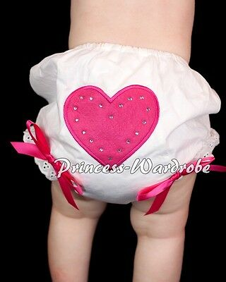White Pantie Bloomer with Sweet Hot Pink Heart Print Various Bows 4 Skirt 6m-3Y