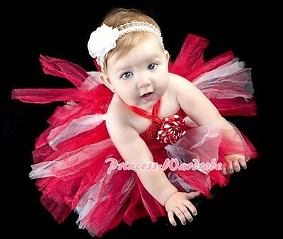 Baby HANDMADE Red White Knotted Tulle Tutu Red Crochet Tube Top SET NB-24month