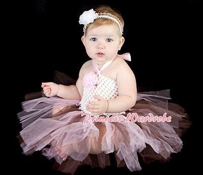 Baby HANDMADE Pink Brown Knotted Tulle Tutu White Crochet Tube Top SET NB-24m