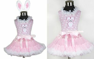 Light Pink White Pettiskirt Lacing Easter Bunny Rabbit Pink White Dots Top 1-8Y