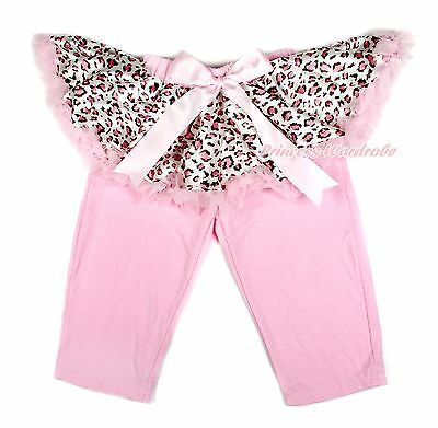 Pink Leopard Tutu Pink Legging Pale Pink Bow Dress Pettiskirt Pants Tight 1-7Y