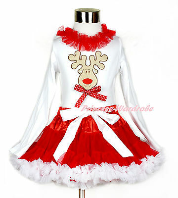 XMAS Reindeer Red Dots Bow Lacing White Tank Top Girl Red Full Pettiskirt 1-8Y