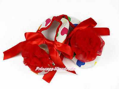 Infant Newborn Baby Red Rainbow Hearts Ribbon Crib Shoes with Red Rosette NB-18M