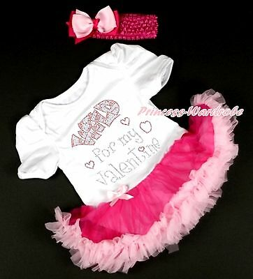 Rhinestone Wild Valentine Baby Girl White Bodysuit Hot Light Pink Skirt NB-12M