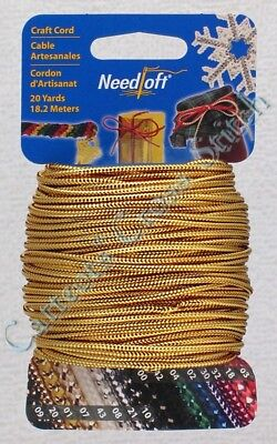 Plastic Canvas Cord Needloft Solid Metallic Gold 55020 Yarn Craft 20 Yards